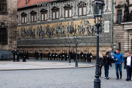Polizeiaufgebot beim G7 Finanzminister Treffen in Dresden