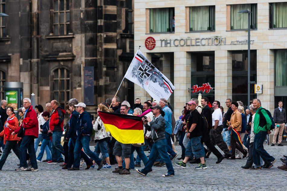 Pegida Demonstration auf dem Altmarkt