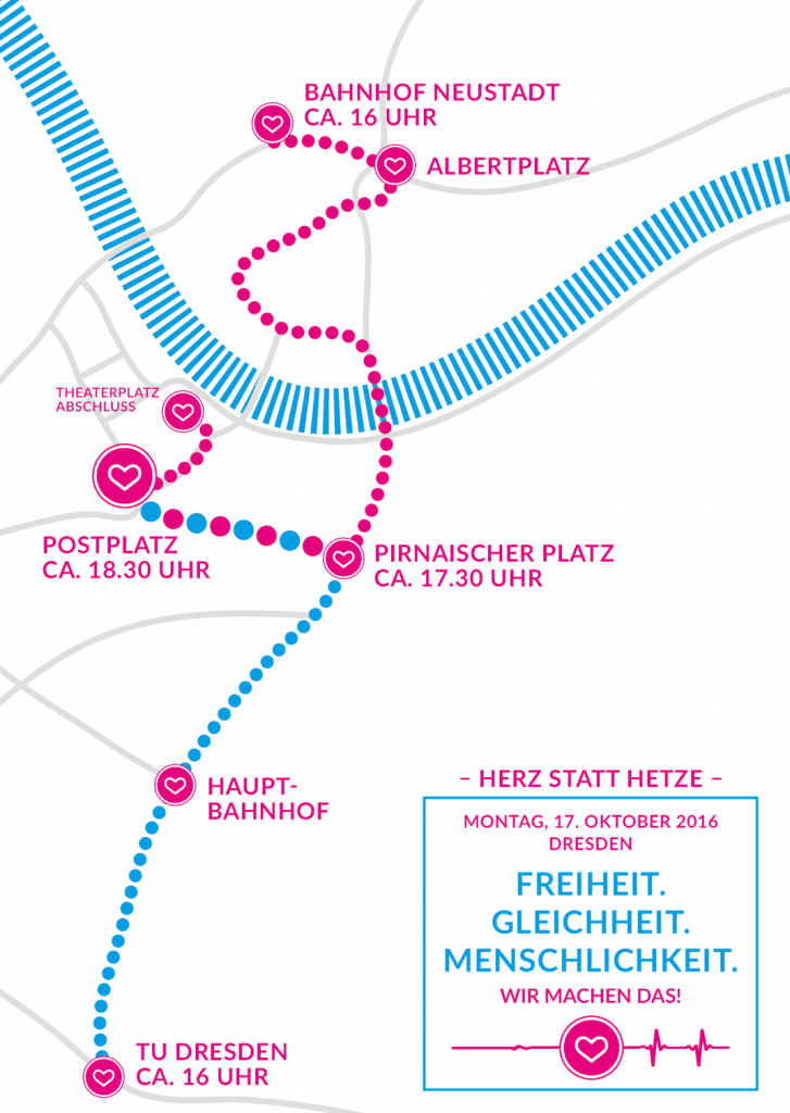 Demonstration am Montag gegen Pegida und für ein Weltoffenes Dresden von Herz statt Hetze