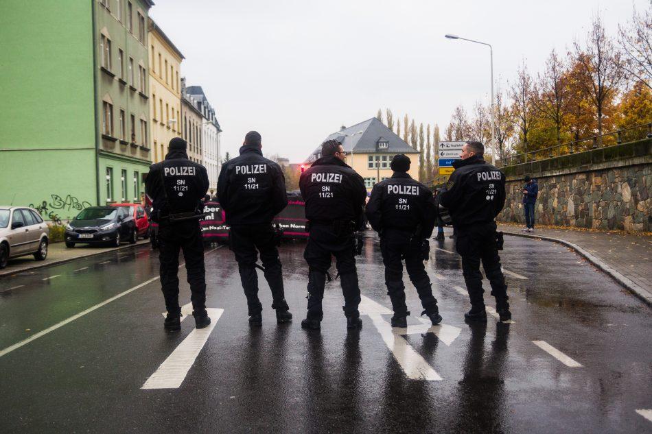 Die Polizei sicherte die Demonstration zum 5. Jahrestag der Selbstenttarnung des NSU ab