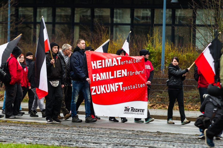 Demonstration der Neonazi Partei die Rechte in Leipzig