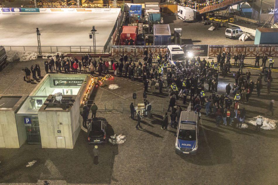 Die Situation auf dem Altmarkt in Dresden wurde Zeitweise etwas unübersichtlich