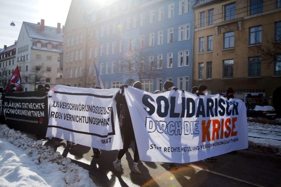 Die Demonstration gegen die Querdenken Veranstaltung verlief größtenteils friedlich