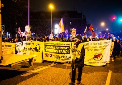 Demonstrations Teilnehmer*innen bei Flint Demo in Hamburg zum Internationaler Tag zur Beseitigung von Gewalt gegen Frauen.