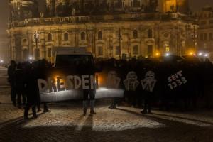 Transparent bei der Gepida Demonstration in Dresden